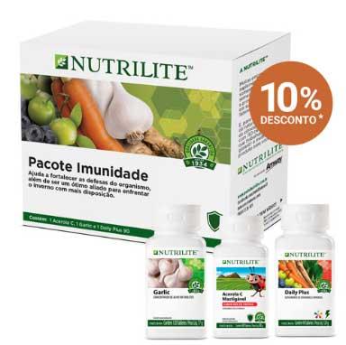 Pacote imunidade da Nutrilite. Que são produtos com ingredientes naturais, que oferecem a proteção que seu corpo precisa, garantindo o aumento da imunidade, disposição e bem-estar.